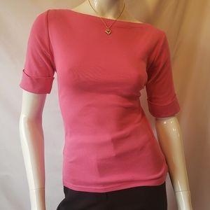 Lauren Ralph Lauren boat Neck folded sleeve blouse
